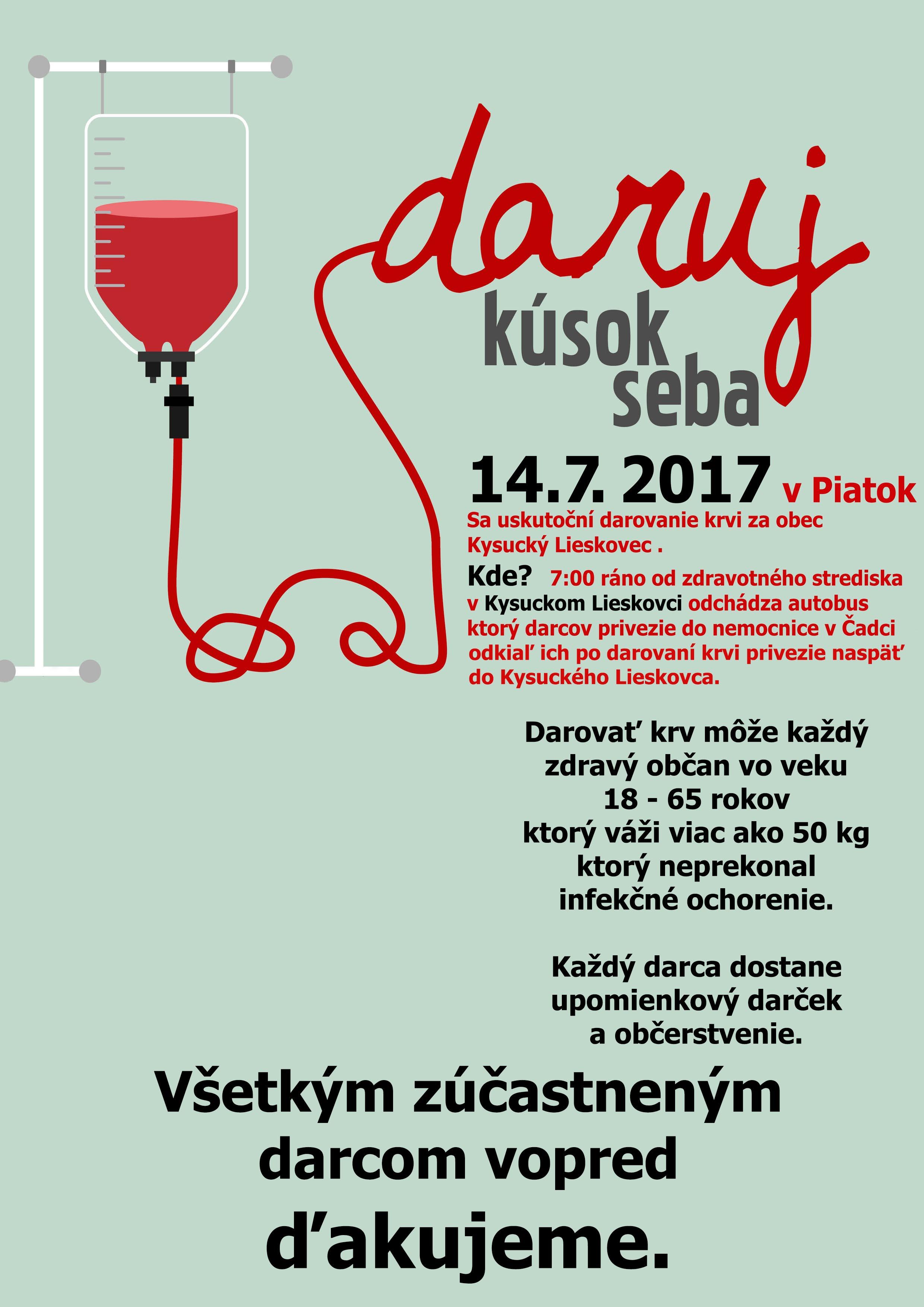 Darovanie krvi za obec Kysucký Lieskovec 14.7. 2017