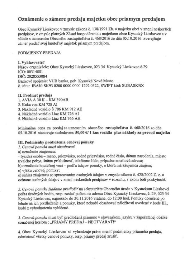 Oznámenie o zámere predaja majetku obce priamym predajom časť 1