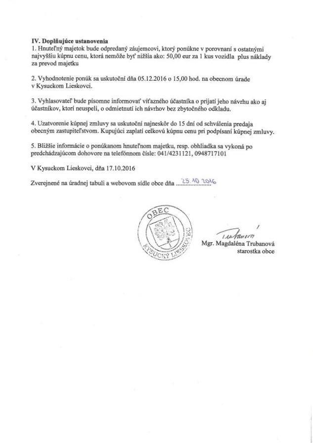 Oznámenie o zámere predaja majetku obce priamym predajom časť 2