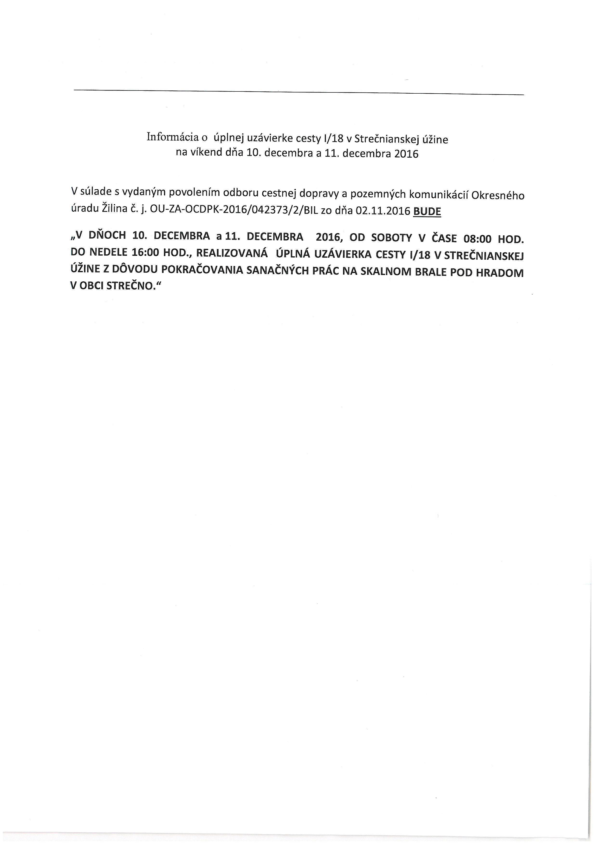 Informácia o úplnej uzávierke cesty I/18