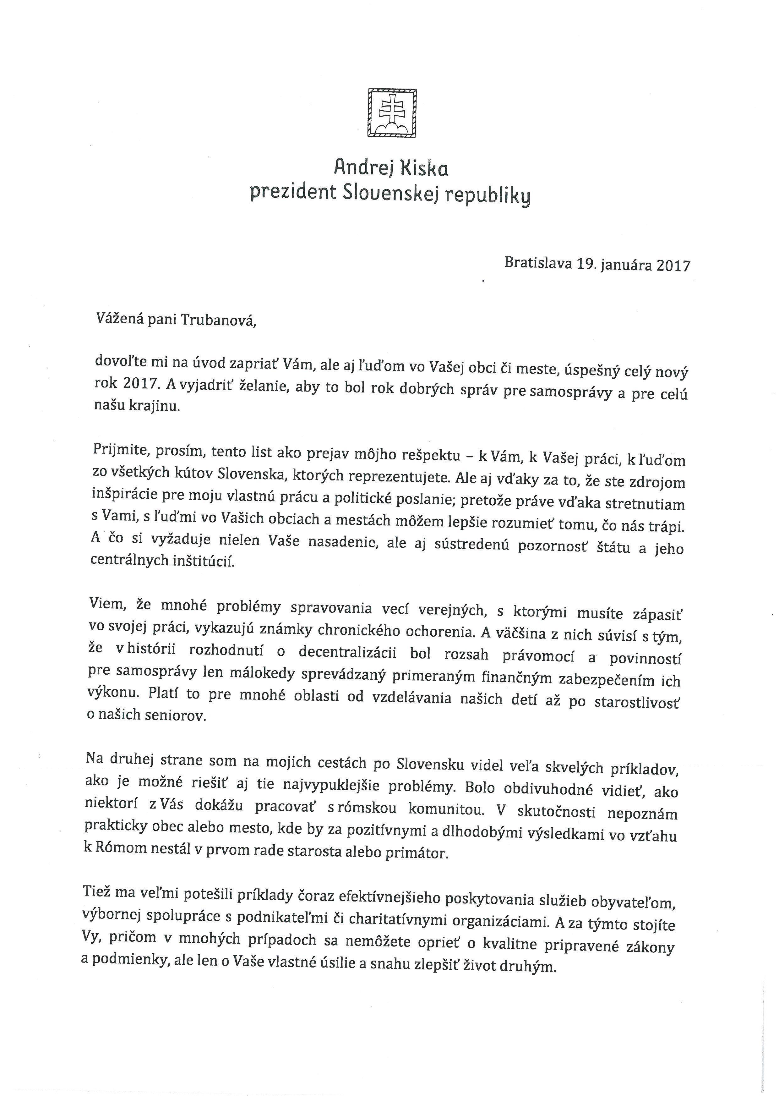 List prezidenta SR