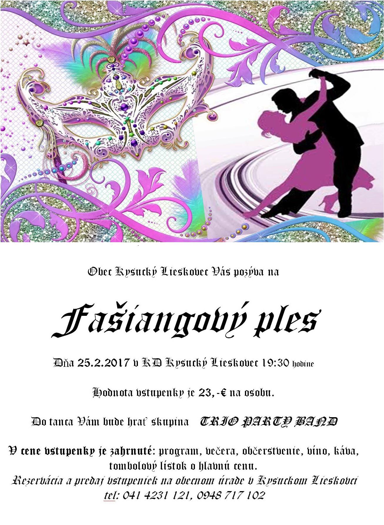 Pozvánka na Fašiangový ples