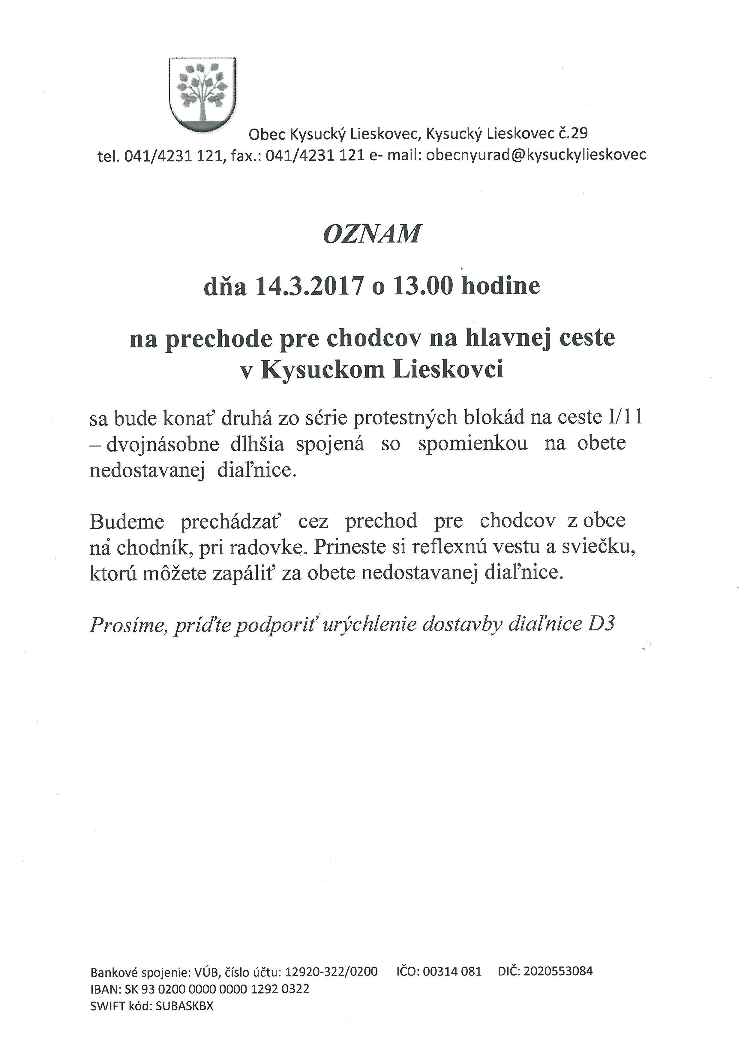 Protestná blokáda na ceste I/11
