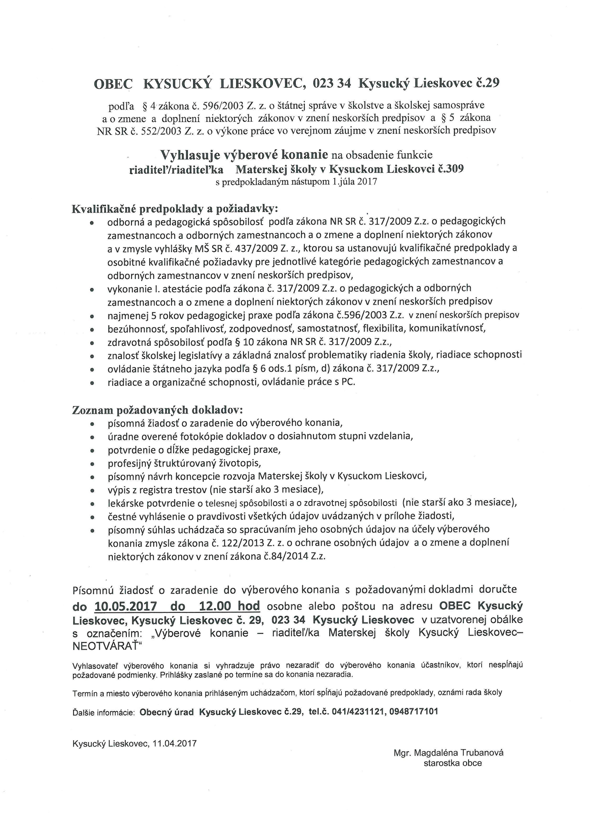 Výberové konanie na obsadenie funkcie riaditeľ/ka Materskej školy  Kysucký Lieskovec