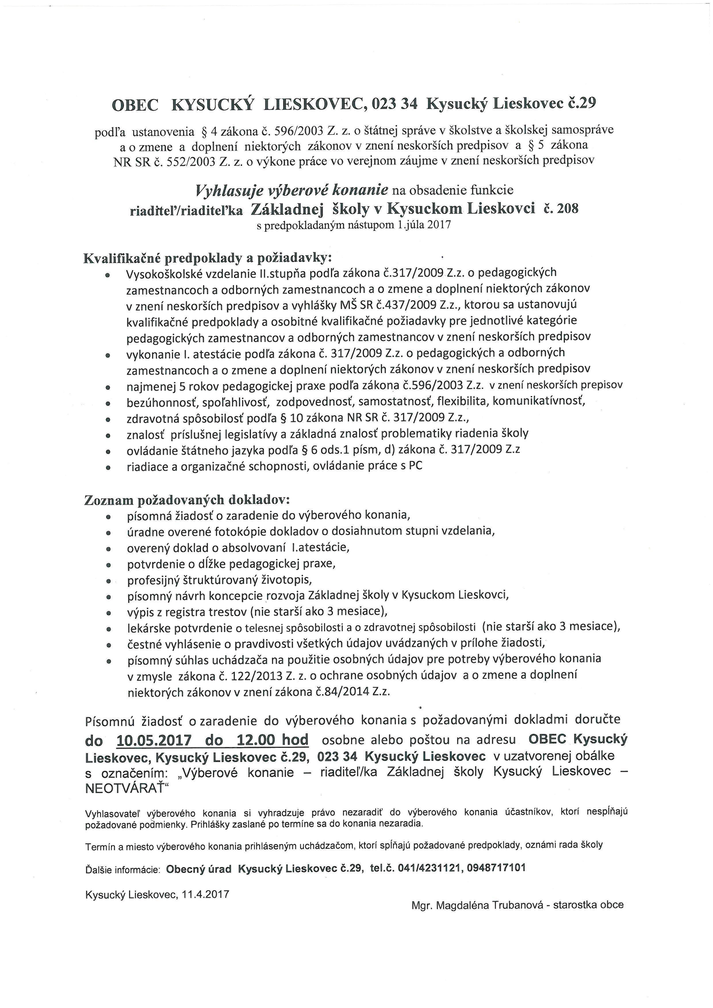 Výberové konanie na obsadenie funkcie riaditeľ/ka Základnej školy  Kysucký Lieskovec