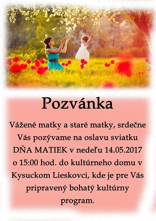 Pozvánka Deň Matiek
