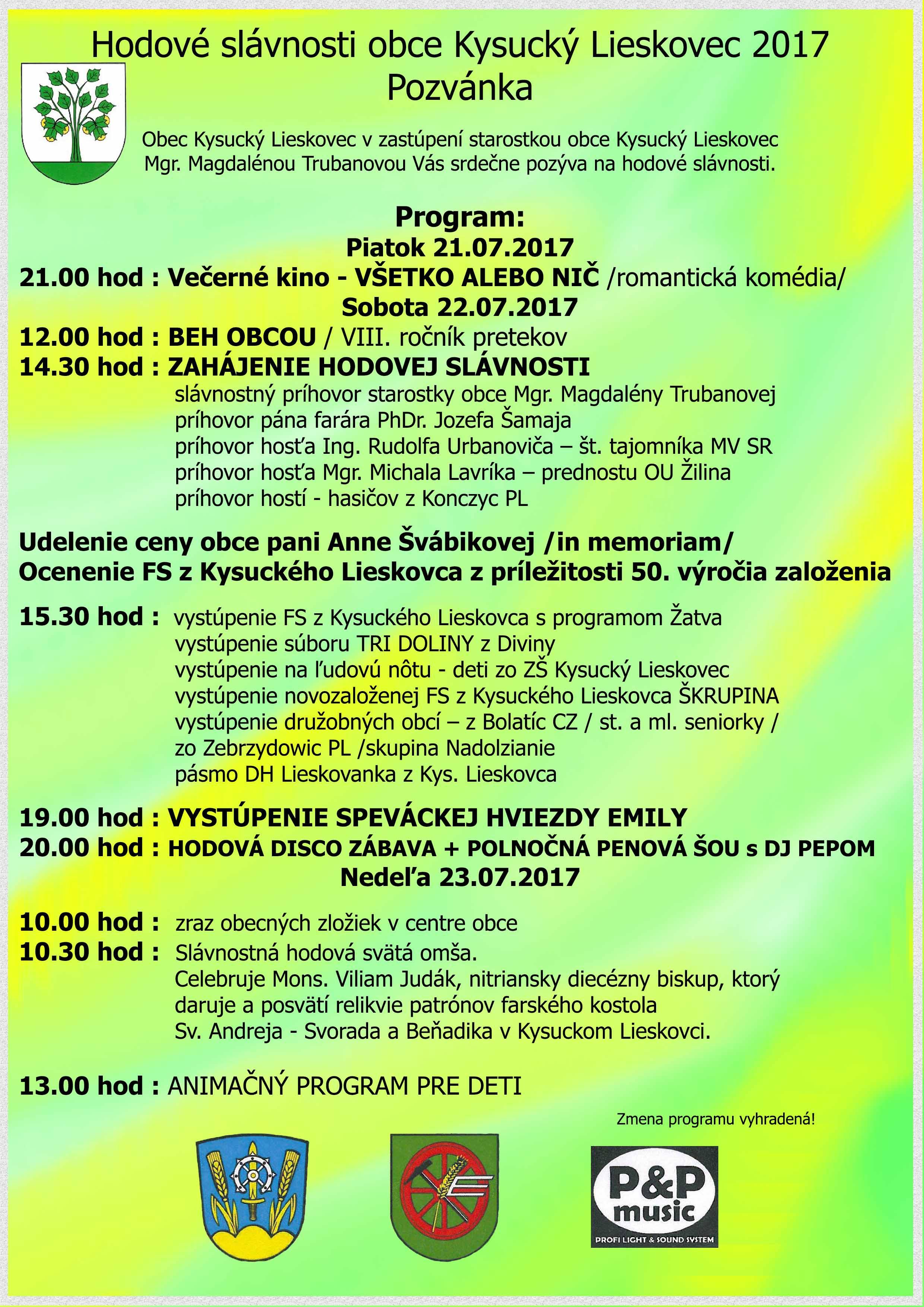 Hodové slávnosti 2017 Kysucký Lieskovec - program