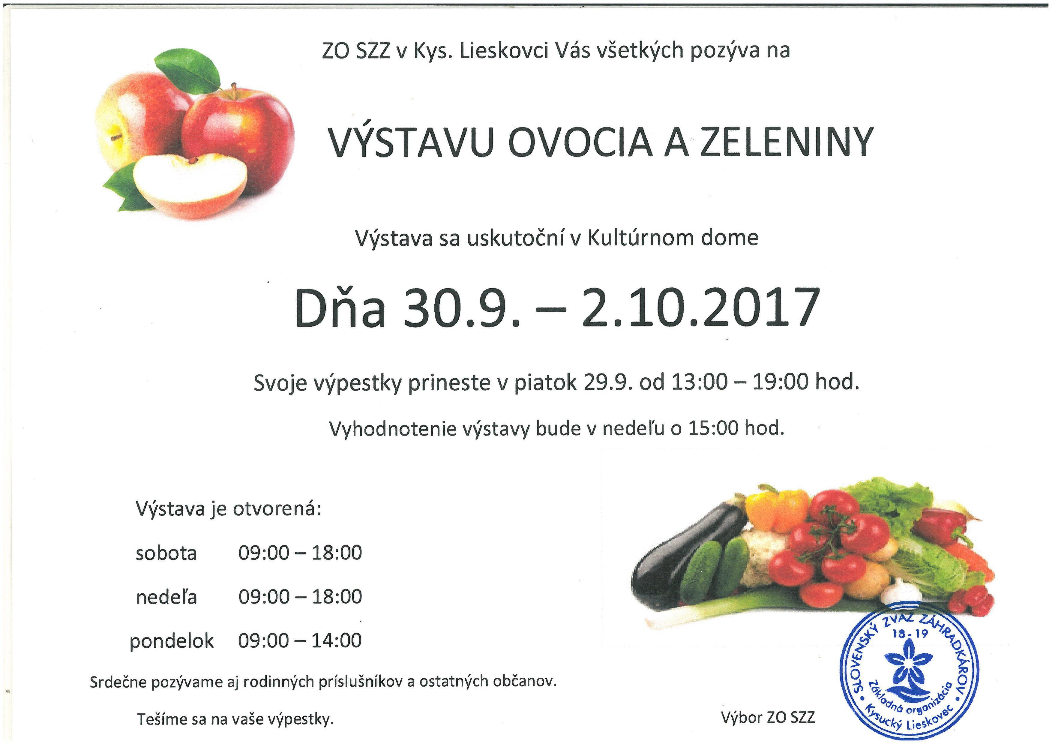 Pozvánka na výstavu ovocia a zeleniny v obci Kysucký Lieskovec
