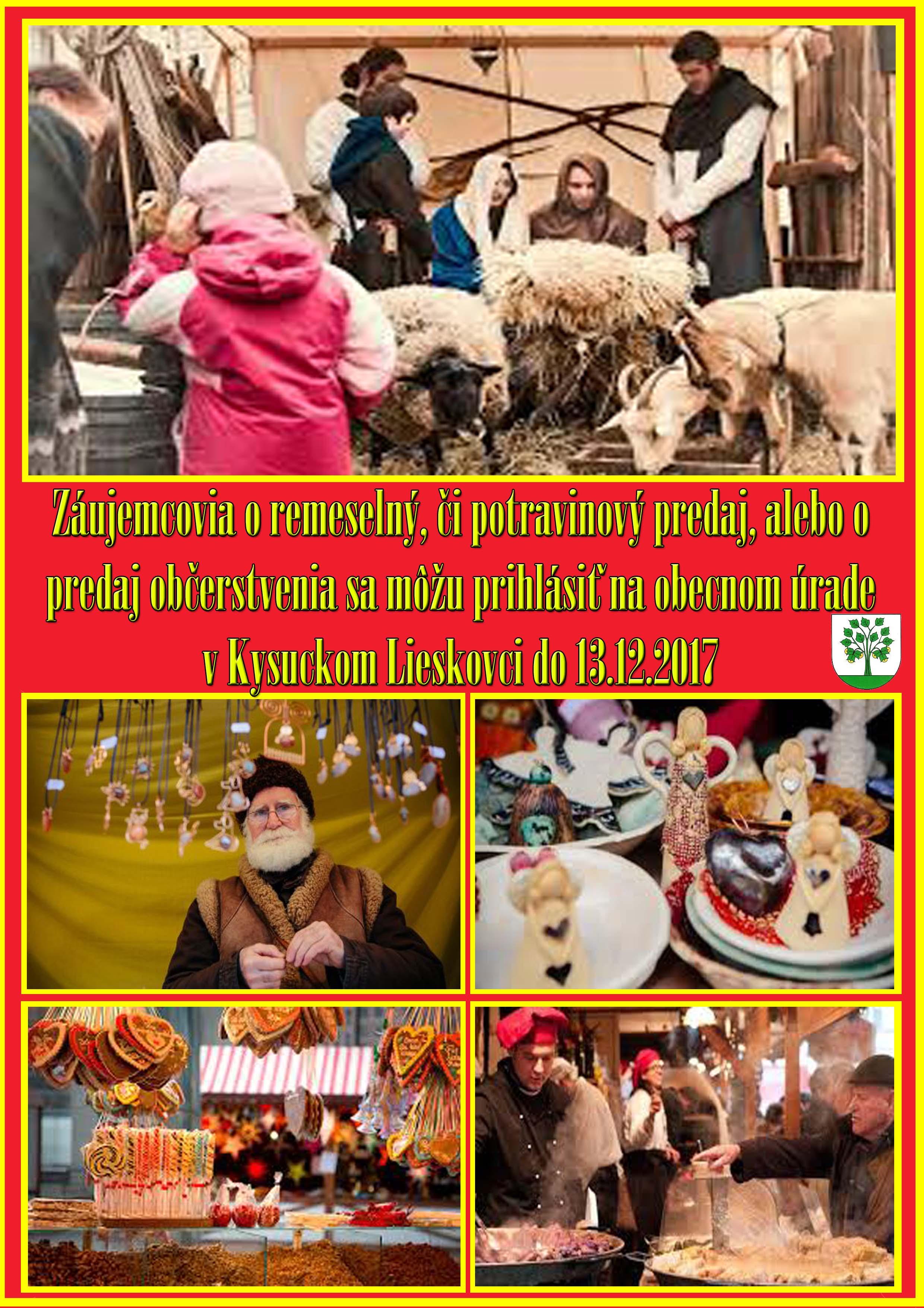 Informácia pre záujemcov o stánok na vianočných trhoch