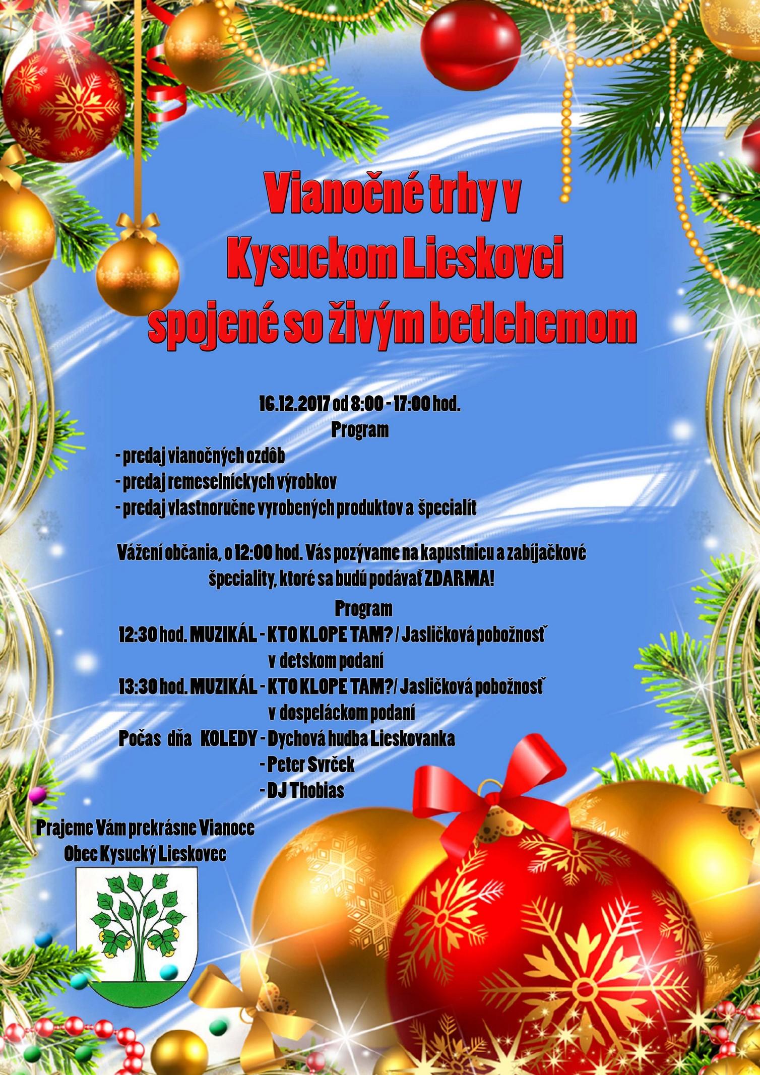 Vianočné trhy spojene so živým betlehemom v Kysuckom Lieskovci