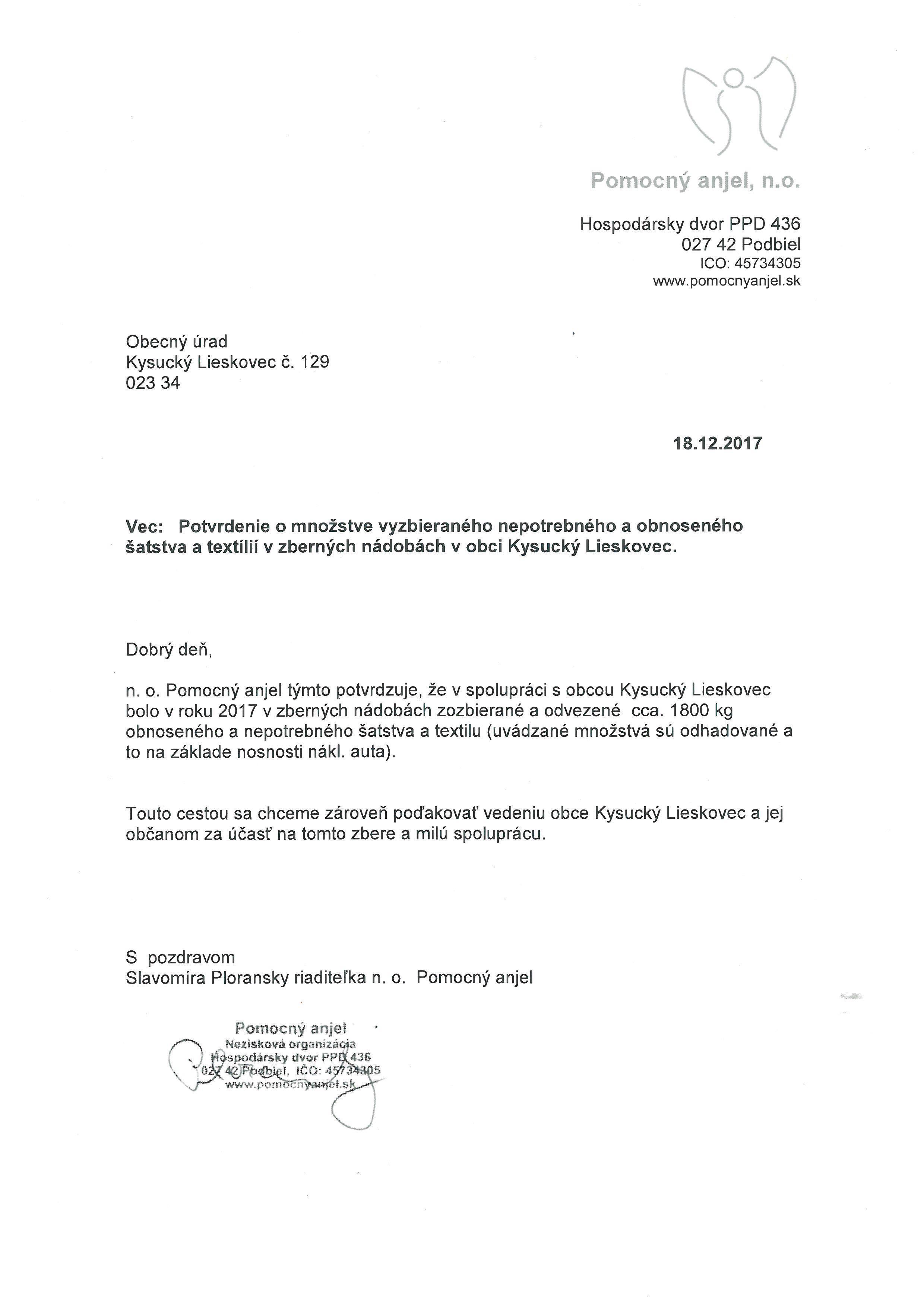 Potvrdenie o množstve vyzbieraného, nepotrebného, obnoseného šatstva a textílií v zberných nádobách v obci Kysucký Lieskovec