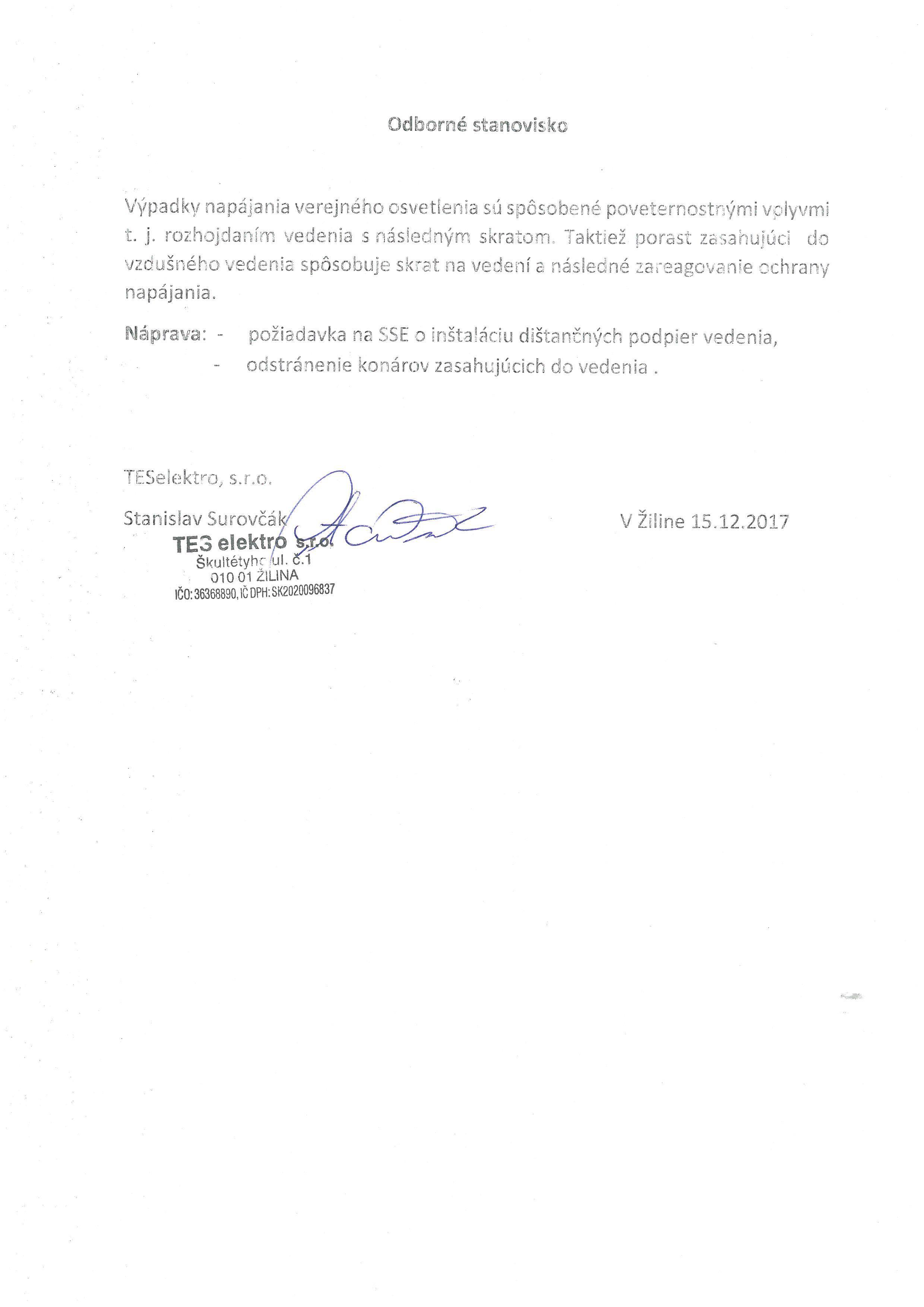 Odborné stanovisko TES ELEKTRO (Výpadky verejného osvetlenia