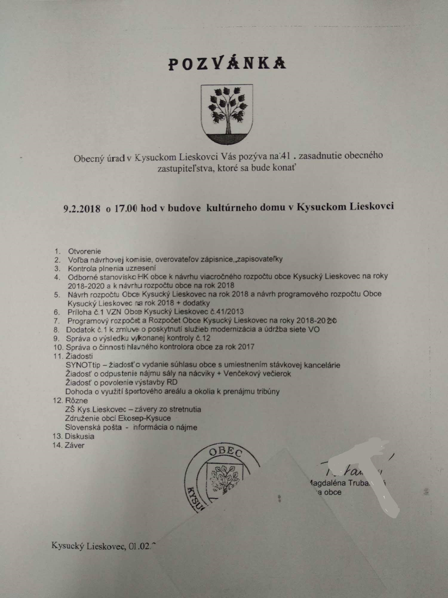 Pozvánka na 41 obecné zastupitelstvo