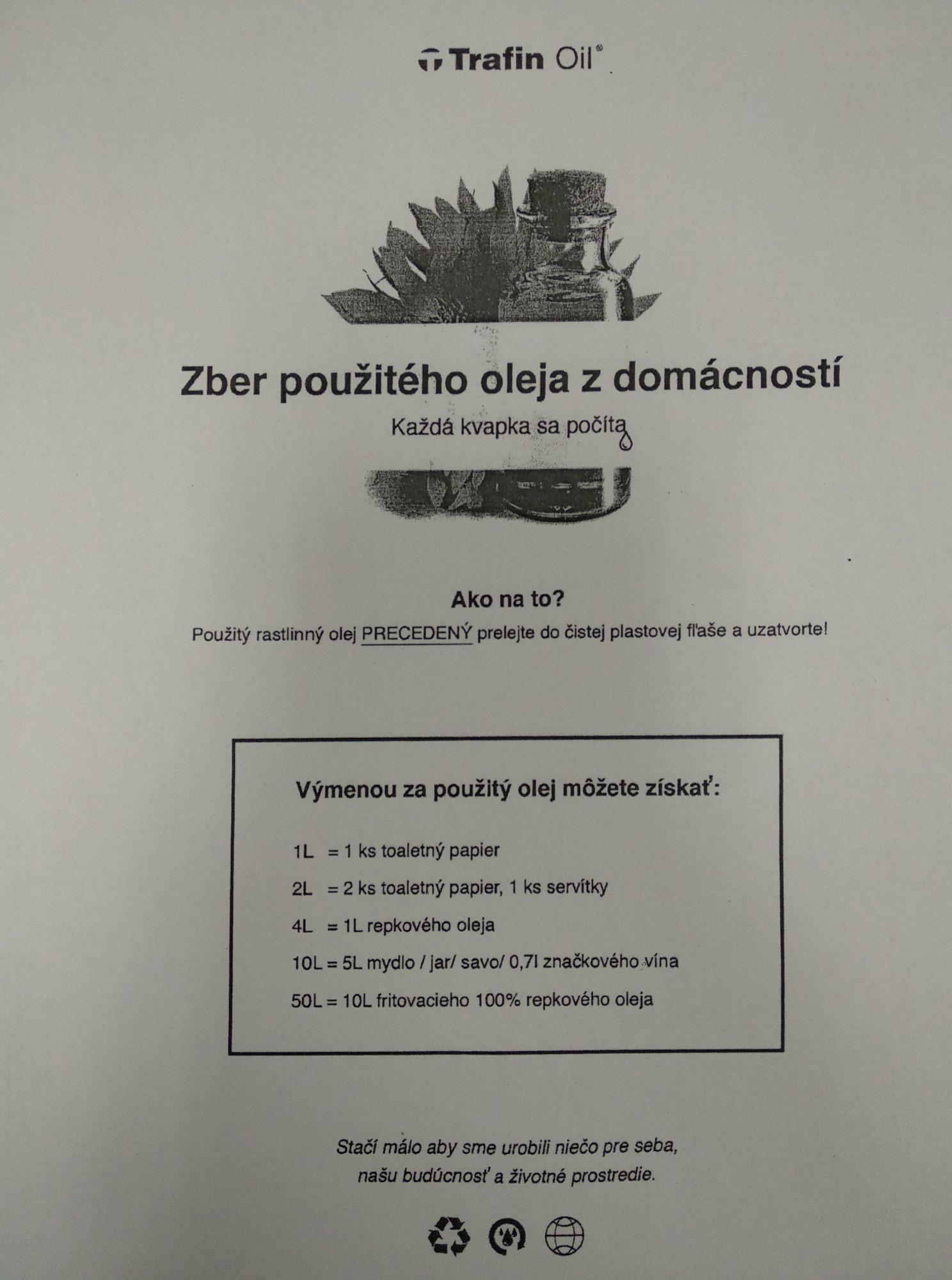 Zber použitého oleja z domáností v Obci Kysucký Lieskovec
