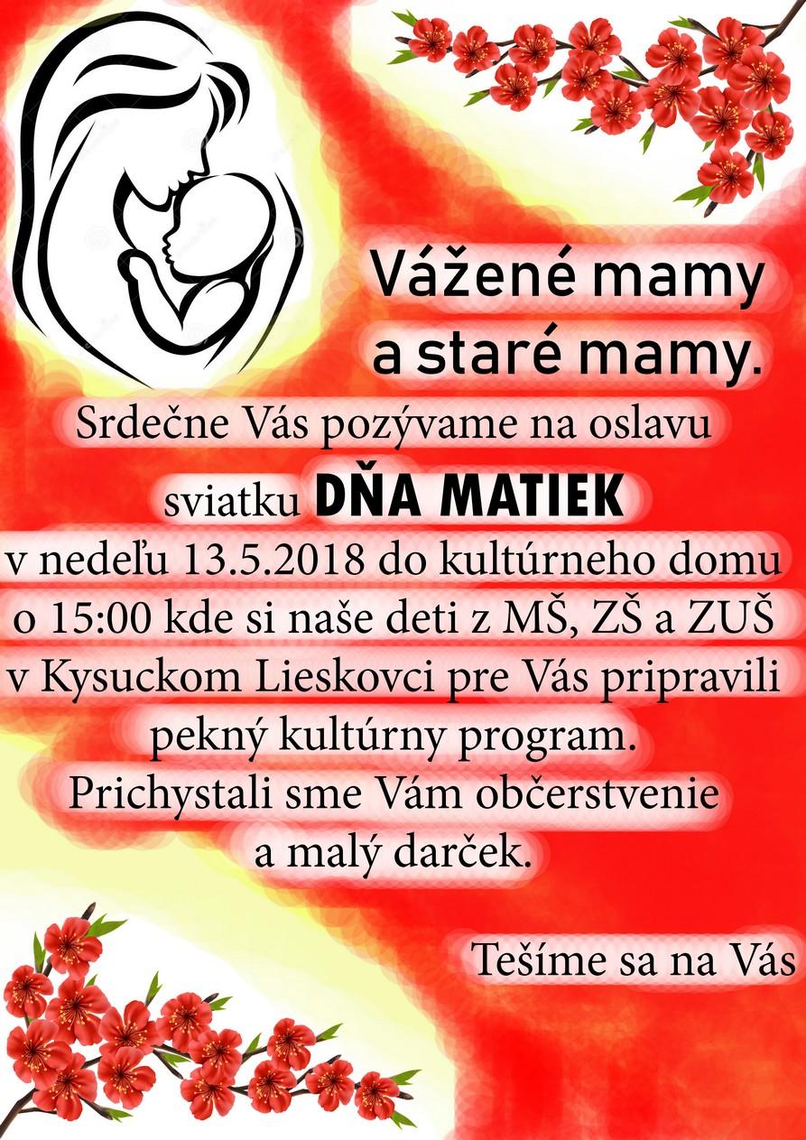 Obec Kysucký Lieskovec Vás pozýva k príležitosti dňa matiek na malé posedenie