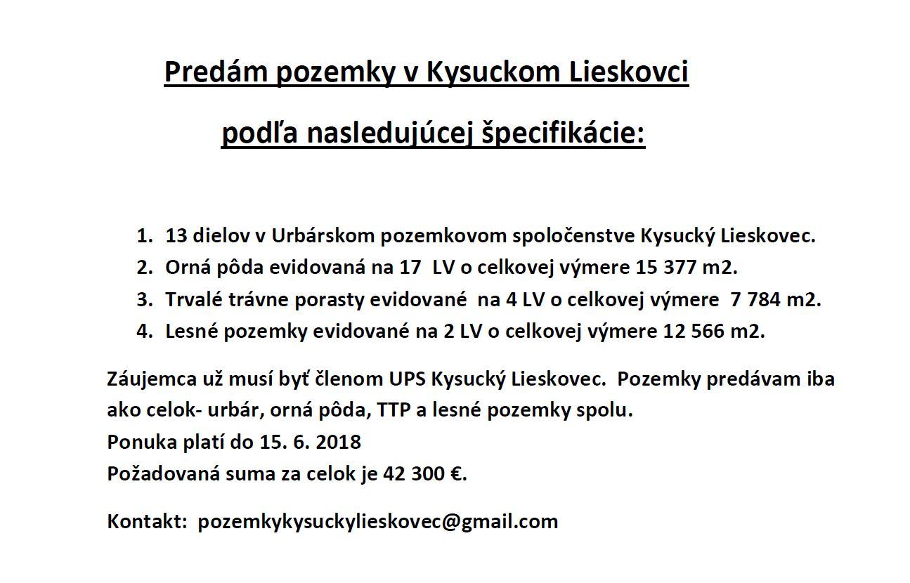 Oznam - Predám pozemky v Kysuckom Lieskovci