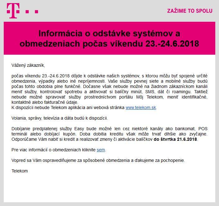 Informácia o odstávke systémov a obmedzeniach počas víkendu 23.-24.6.2018