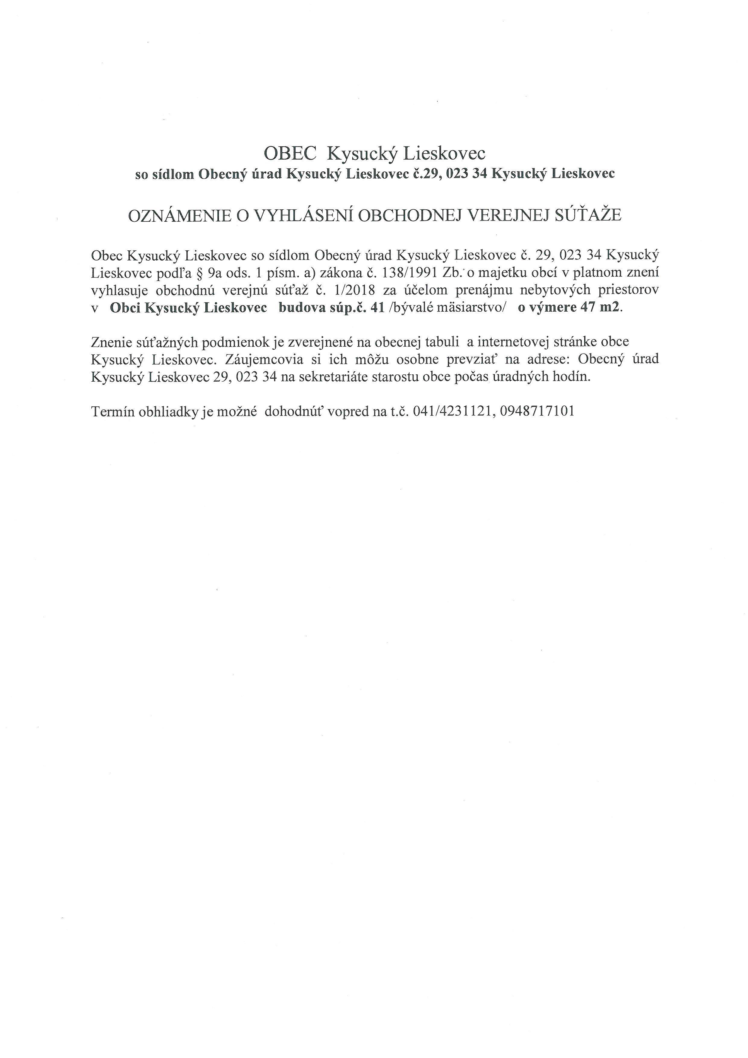 Oznámenie o vyhlásení OVS