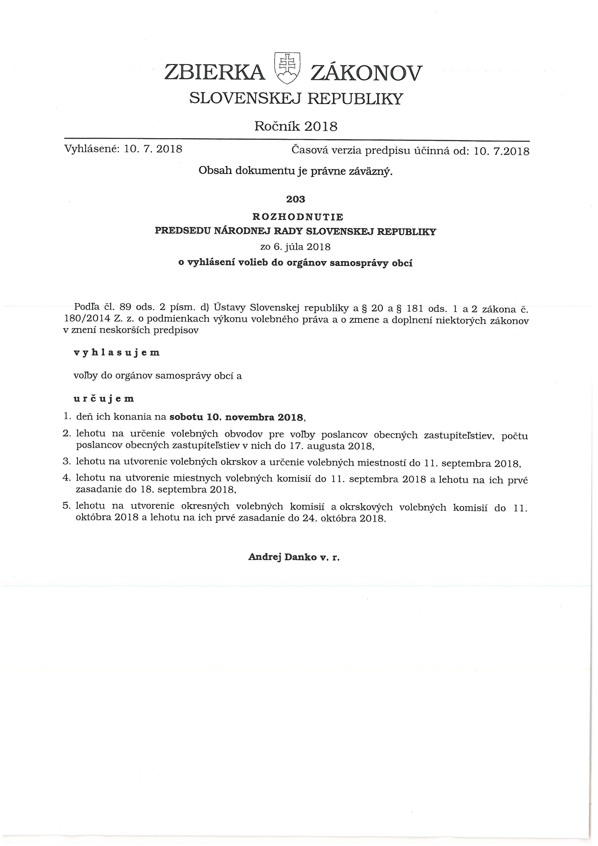 Rozhodnutie predsedu NR SR o vyhlásení volieb do orgánov samosprávy obcí
