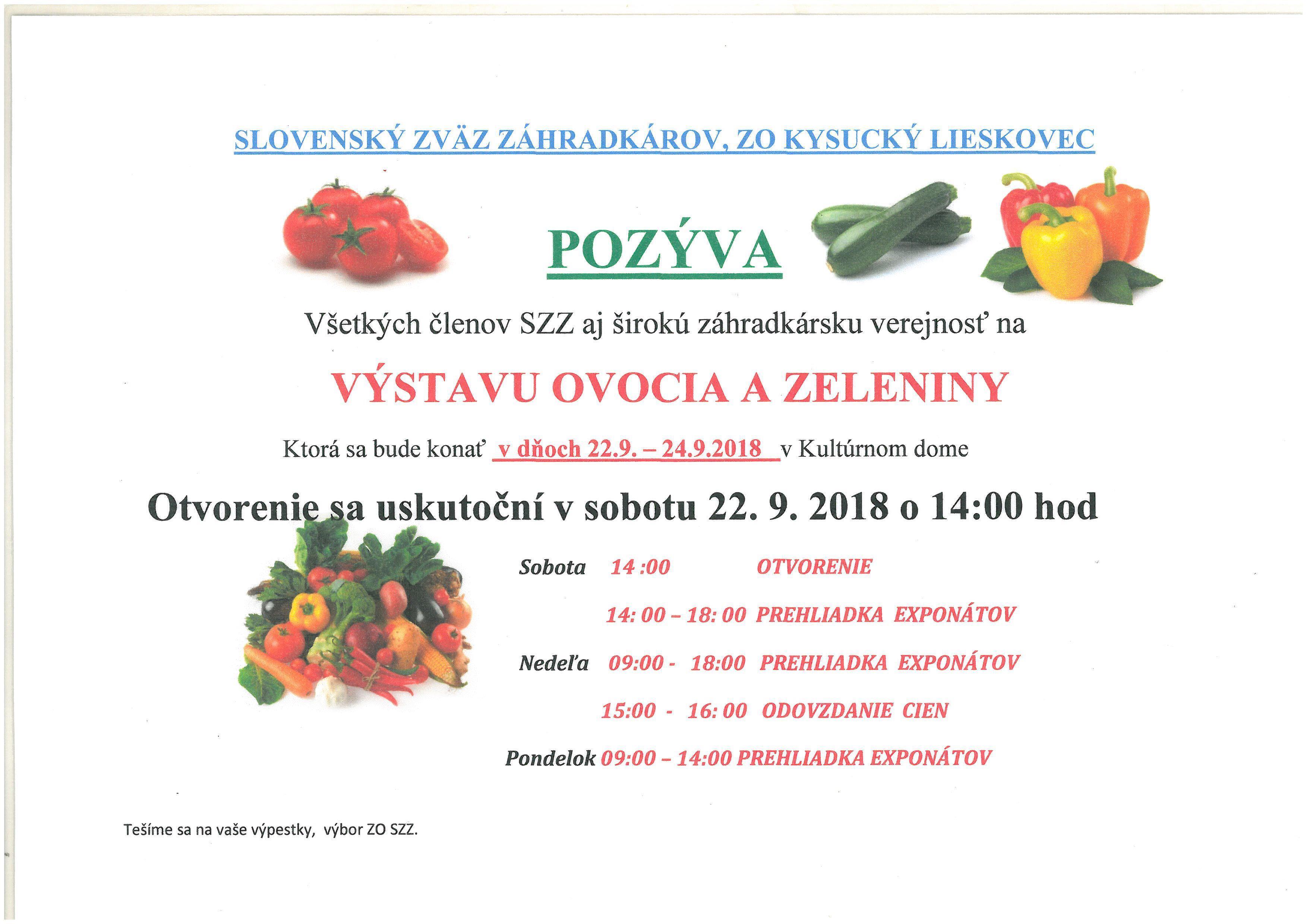 Pozvánka na výstavu ovocia a zeleniny, ktorá sa koná v dňoch 22.9.2018-24.9.2018 v  kultúrnom dome v Kysuckom Lieskovci