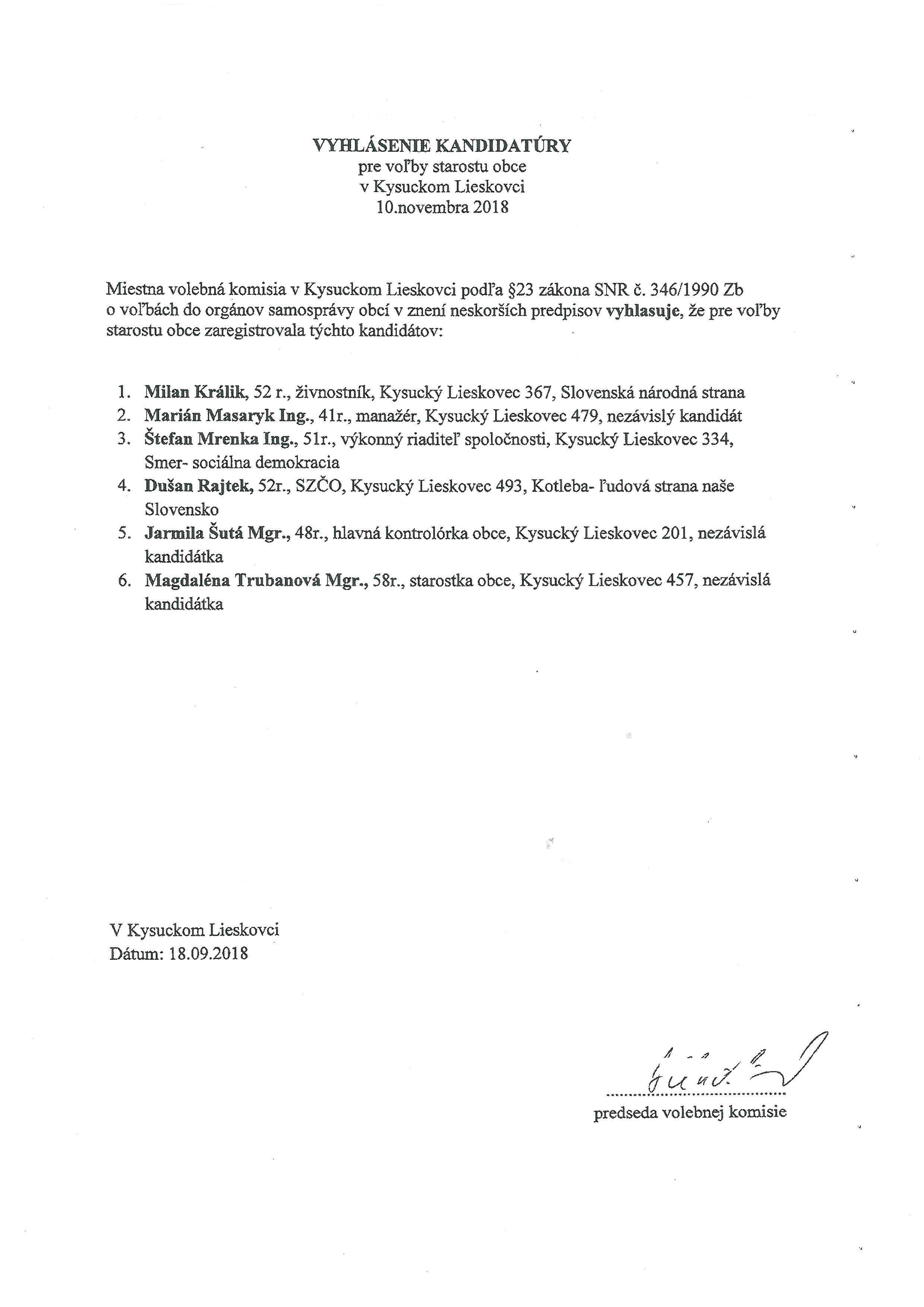 Vyhlásenie kandidatúry pre voľby starostu obce v Kysuckom Lieskovci