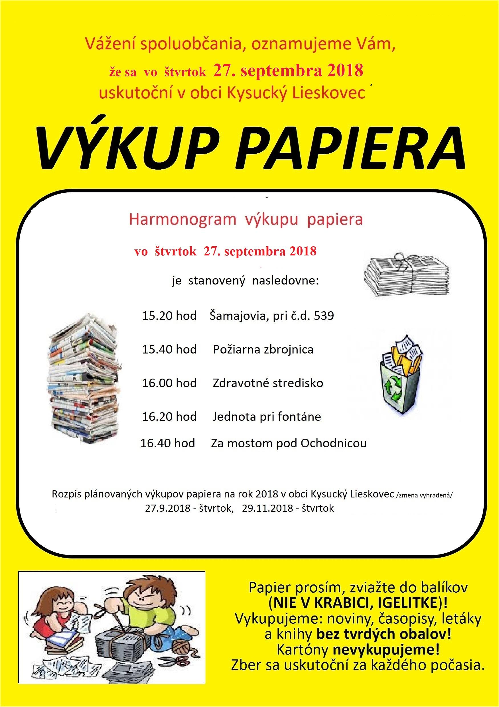 Výkup papiera  v obci Kys.Lieskovec 27.9.2018