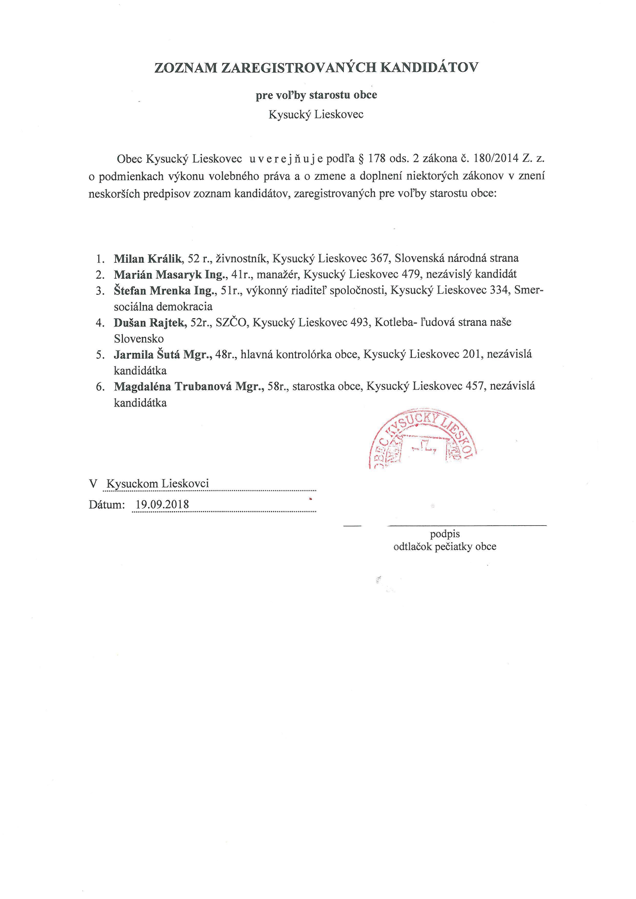 Zoznam zaregistrovaných kandidátov pre voľby starostu obce Kys.Lieskovec - platný po revidovaní miestnou volebnou komisiou obce Kysucký Lieskovec  - starosta