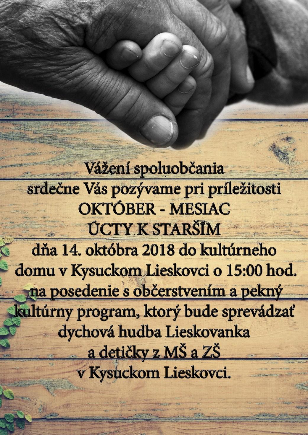 Október - mesiac úcty k starším