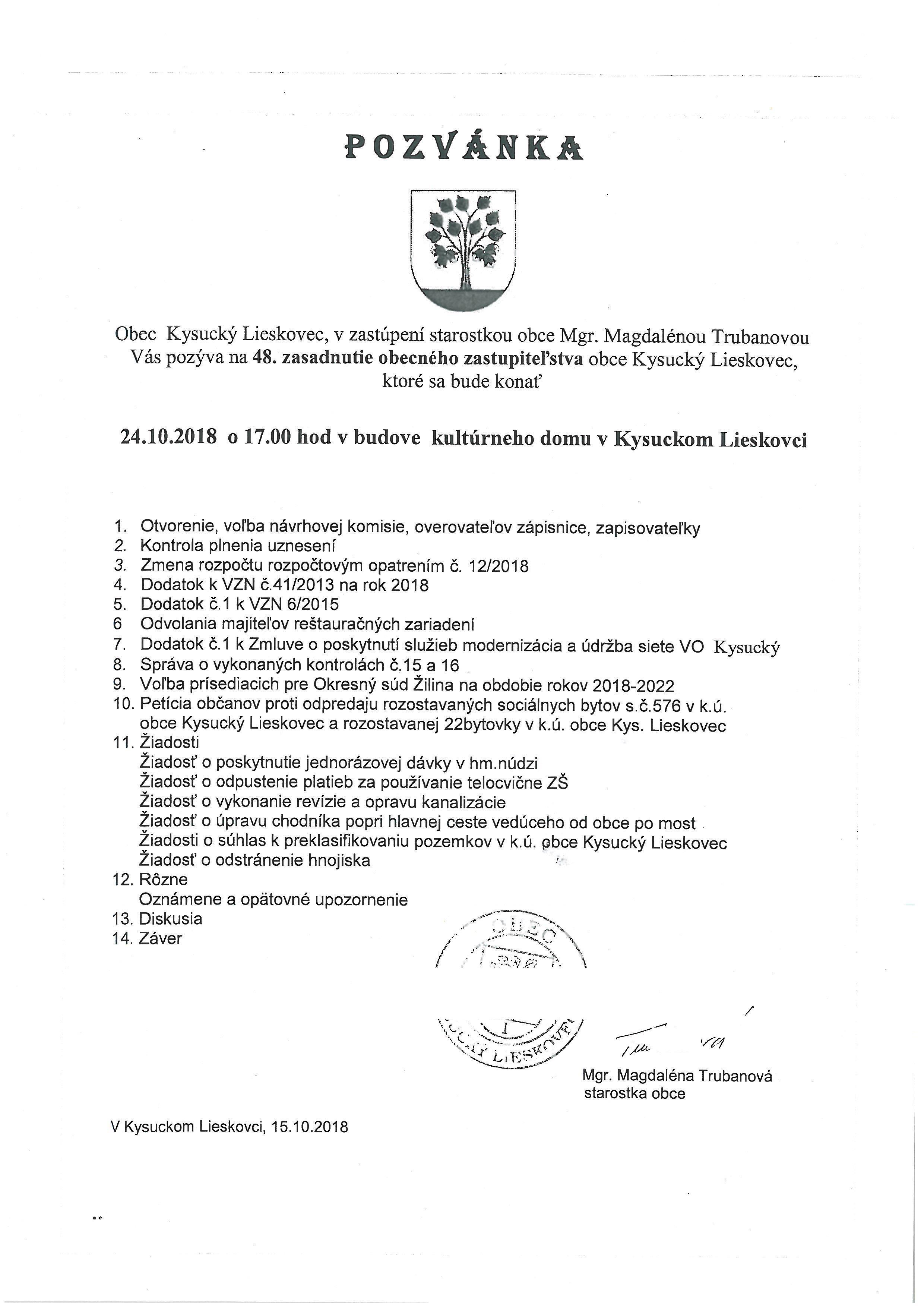 Pozvánka na 48. zasadnutie OZ obce Kysucký Lieskovec