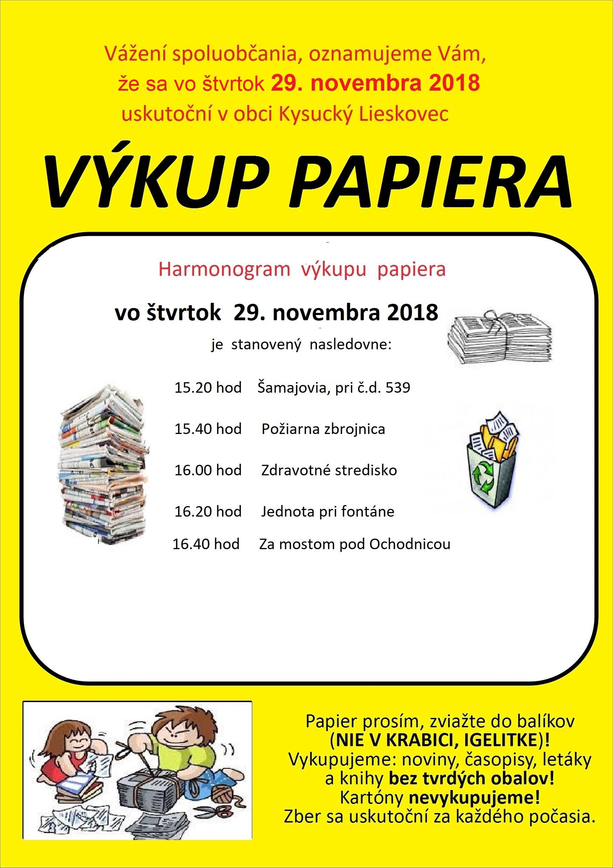 Výkup papiera 29.11.2018