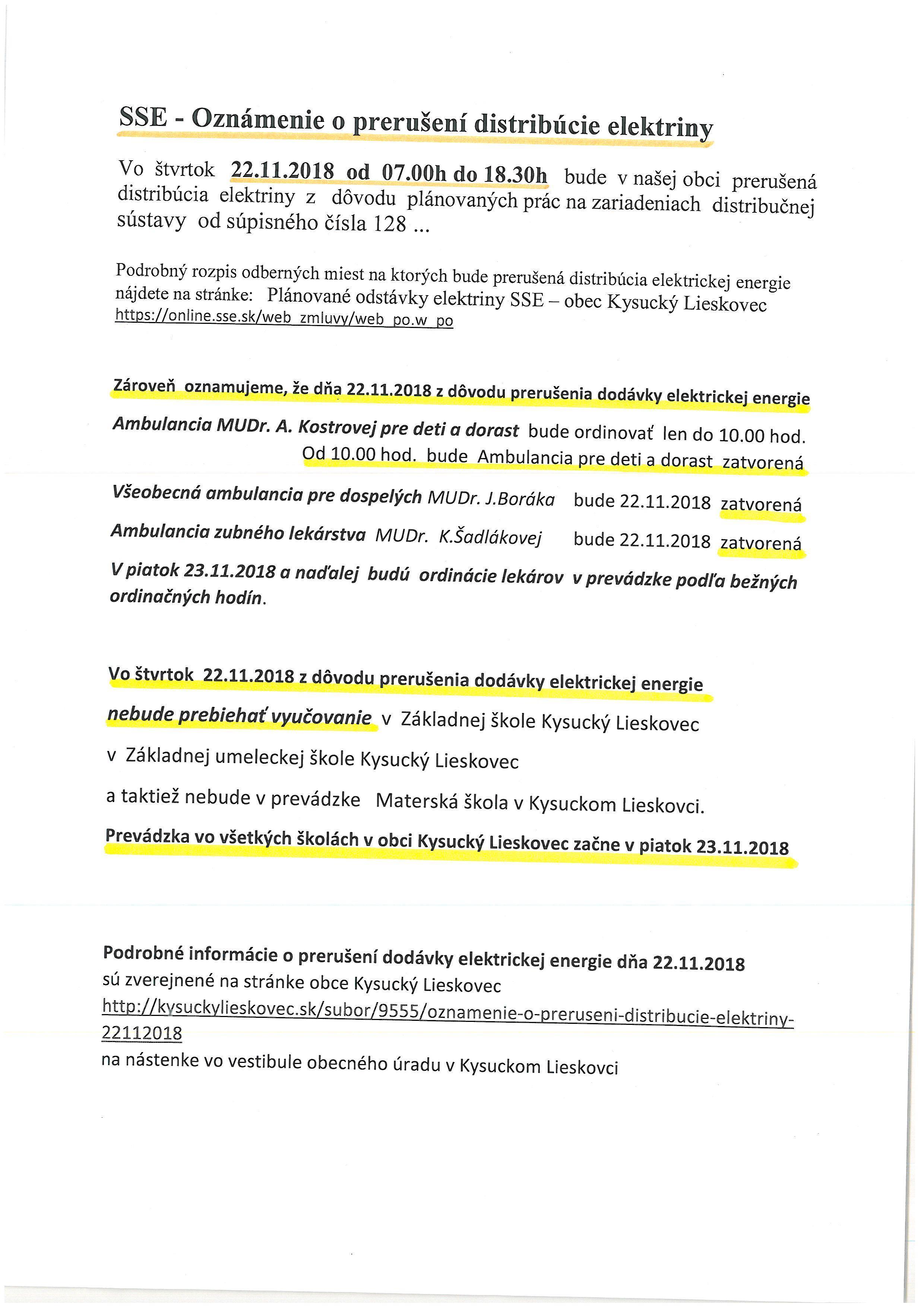SSE - oznámene o prerušení distribúcie EE 22.11.2018