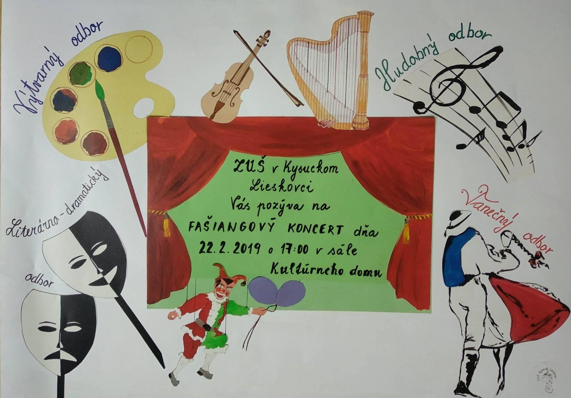 Pozývame Vás - Fašiangový koncert dňa 22.2.2019 o 17:00 do sály kultúrneho domu.